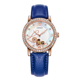Water resistant sport Watches Women online shopping - woman Automatic Mechanical watch Luxury watch watches Heart shaped dial dial Hollow Ladies Rhinestone Leather strap sports wristwatch