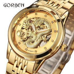 Luxury Skeleton Watches Australia - Dragon Skeleton Automatic Mechanical Watches For Men Watch Gift Box Luxury Gold Steel Self Wind Clock relogios masculino