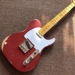 $enCountryForm.capitalKeyWord NZ - Free Shipping custom shop TELE 6 Strings Maple fingerboard red Electric Guitar,telecaster guitaar relics by hands guitarra real photos guita