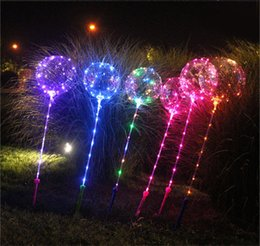 balls balloons sticks NZ - 2019 Luminous LED Flash Lights Balloon with Handle Stick 3m String LighT Up Flashing Bobo Ball Festival Wedding Party Decoration Toy
