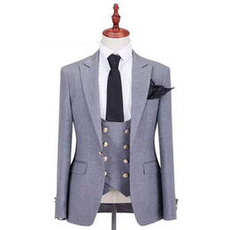 Wholesale grey suits resale online - Grey Men Suits for Wedding Groom Tuxedos Peaked Lapel Custom Made Groomsmen Blazers Pieces Jacket Pants Vest Double Breasted Evening Party