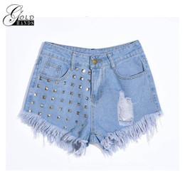 $enCountryForm.capitalKeyWord Canada - Gold Hands Female Raven Shorts High Waist Ladies Denim Shorts Wash Old Punk Street Denim Cotton Black Shorts Women Tight Short