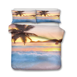 $enCountryForm.capitalKeyWord UK - Tropical Palm Trees Sunset Coconuts Ocean 3d Print Bedding Sets 3pcs Duvet Cover Pillowcases for Adult Kids bed set Wave 12 size