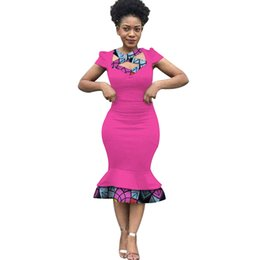 Fashion Dashiki African Women Patchwork Straight Dress Clothes Bazin Rihce  Traditional African Wax Print Dress for Women WY3231 a425c60816a0