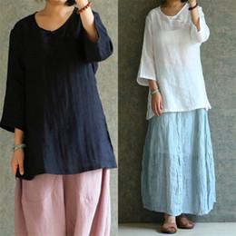 e517cb9de4f7b Celmia Plus Size Women Summer Blouse 2018 Linen Top Blusas 3 4 Sleeve  Vintage Shirt Casual Loose Button Split Blusa Feminina 5XL