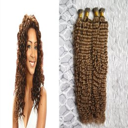 $enCountryForm.capitalKeyWord NZ - #8 Light Brown kinky curly Fusion Hair I Tip Stick Tip Keratin Machine Made Remy Pre Bonded Human Hair Extension 200g strands