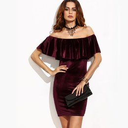 e19f90971a Womens one word collar velve dress Elegant solid color Ruffle neck short  sleeve high waist Bodycon pullover mini dress Work Party dress