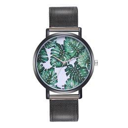 $enCountryForm.capitalKeyWord NZ - Ladies bracelet watch Woman Fashion metal Plant Pattern Alloy Steel wristband Analog Quartz Round wristwatch drop shipping new