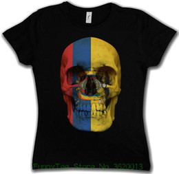 Discount girls skull t shirt - Women's Tee Classic Ecuador Skull Flag Woman Girlie Girl T-shirt - Biker Mc Banner Shirt Cheap Price For Women