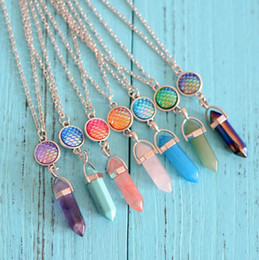 $enCountryForm.capitalKeyWord Australia - Hexagonal Crystal Pink Purple Quartz Natural Stone Pendant Chakra Fish Scale Druzy Drusy Necklace With 50cm stainless steel chain