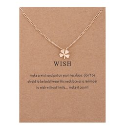 Wholesale Lucky Clover Pendant Necklace Short Women Clavicle Chain Gold Silver Plant Necklace Alloy Pendants With Gift Card Fashion Jewelry