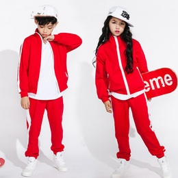 45e1118e34ac 2018 Hip Hop Dance Costume Kids Boys Jazz Costumes Girls Street Dance  Clothing Red Sportswear Practice Performance Suits DN1745