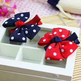 $enCountryForm.capitalKeyWord Australia - 10pcs Design Fashion Grosgrain Children Headdress Girls Cute Hair Clips Headwear Big Bow Dot Hairpins Baby Hair Accessories Gift