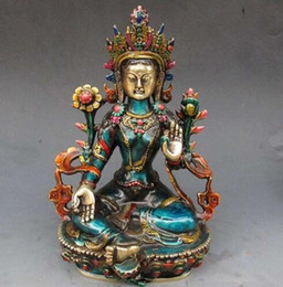 $enCountryForm.capitalKeyWord Australia - decoration bronze factory Pure Brass Antique 8.66 inch Exquisite Chinese hand-carved cloisonne buddhist Buddha green tara statue