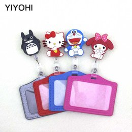 id badge case holder 2019 - YIYOHI Silicone card case holder Bank  Holders Card Bus ID Holders Identity Badge with Cartoon Retractable Reel SKU02 ch