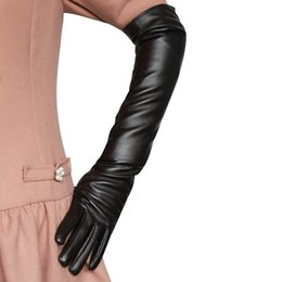 Leather Gloves Long Fingers Australia - 150PAIRS   LOT Women Leather Gloves Synthetic Leather Warm Long Mittens Fashion Dance Driving Over Elbow Lady Gloves