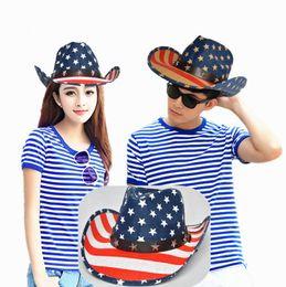 f9035389b94 American Flag Stars Sun Hats Stripe Hollow Western Cowboy Hat Studded  Patriotic Jazz Personality Retro cap FFA462