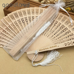 Carving For Wedding Gift NZ - Free Shipping 30pcs Original Vintage Folding Wooden Carved Hand Fan in Gift Bags Wedding Gifts for Guests