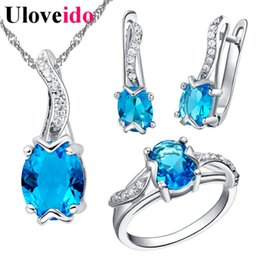 dubai jewelry sets Canada - whole sale30% Off Blue Wedding Dubai Jewelry Sets for Women Ring Necklace and Earrings African Jewelry Set Gifts 2017 Choker Uloveido T231