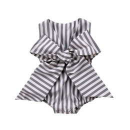 China Adorable Baby Girls Bow Stripes Romper Newborn Kids Jumpsuit Clothes Outfits Summer cheap adorable kids clothes suppliers