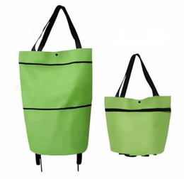 fold hand bag Australia - Portable folding shopping bag trolley hand reusable storage Shopping Bag On Wheels Rolling Grocery Tote Handbag SN1087