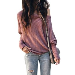 $enCountryForm.capitalKeyWord NZ - Women Pullover Sweater Long Sleeve Fashionable Off Shoulder Autumn Winter Sweater Knitted Top