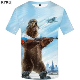 Men Brand T Shirt Australia - KYKU Brand Russia T-shirt Bear Shirts War Tshirt Military Clothes Gun Tees Tops Men 3d T shirt 2017 Cool Tee