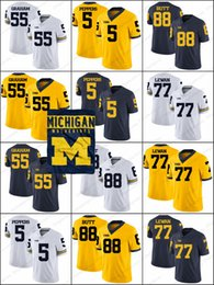 130f91998 Michigan Wolverines  16 Denard Robinson 55 Brandon Graham 77 Taylor Lewan 5  Jabrill Peppers 88 Jake Butt NCAA College Football Jerseys S-3XL