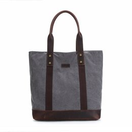 $enCountryForm.capitalKeyWord UK - Hot Selling Unisex Cotton Hand Bags for Women and Men Vintage Canvas Horse Leather Shoulder Large Bag Grey Coffee bolsos mujer