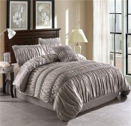 Queen Size Grey Bedding NZ - Princess White Grey Duvet Cover Set With Cushion Cover pintucks 4pcs Queen Size Bedclothes Bedding Sets (No filling No sheet)