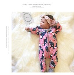 Wholesale Spring and autumn new baby wrapped baby pajamas long sleeved baby jumpsuit big mouth bird printed design cotton clothes