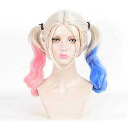 Wholesale cosplay custome online – ideas Cosplay Michael Jackson Pink Blue Kihaki Mixed Long Wave Curly Custome Party Wig