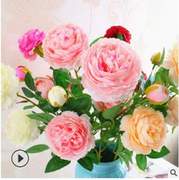 Roses Factories NZ - Factory direct sale European style core 3 peony Western Rose Wedding Decoration artificial flower simulation flower wholesale wreath