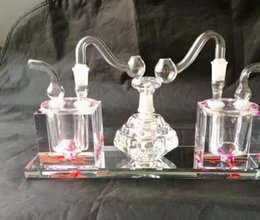 2018 New Double Conjoined Alcohol Lamp , Wholesale Glass Bongs Accessories,  Water Pipe Smoking, Free Shipping