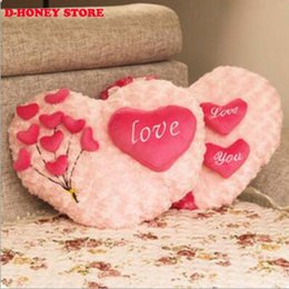 Heart Shaped Plush NZ - Roses Love pillow cartoon couple pillow Heart Shape Sofa Rose applique Cushion Plush Toy Valentine's Day wedding gift