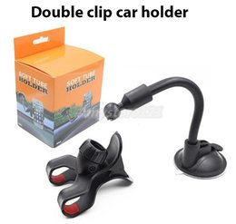 Wholesale For iPhone s Double Clip Car Mount Easy To Use Universal Long Arm neck Rotation Windshield Phone Holder for Cell Phones