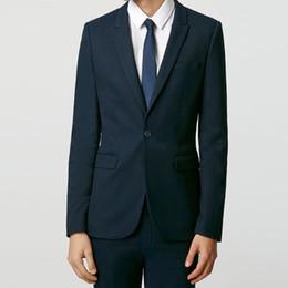 Navy Suits For Sale UK - Top Design Navy Blue Smart Casual Business Suit Groom Tuxedos Wedding Suits Prom Party Suits Slim Fit for Men 2Pcs Hot Sale