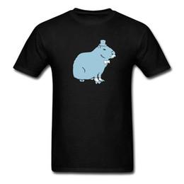 Color divertido impreso Sir Capybara corto algodón camisas de cuello redondo para hombres en venta