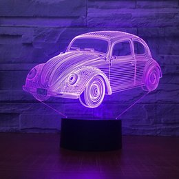 Discount old style cars - Old Style Car Lamp 3D Optial LED Lamp Night Lamp 5th Battery USB Powered 7 RGB Light DC 5V Wholesale Free Shipping