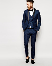 shawl collar tuxedos Canada - Side Vent Slim Fit Groom Tuxedos Shawl Collar Men's Suit Navy Blue Groomsman Bridegroom Wedding Prom Suits (Jacket+Pants+Tie+vest)