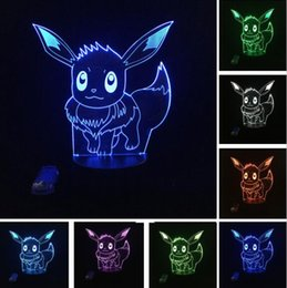 bedroom night lamp Canada - New Cartoon Pikachu 3D Atmosphere Illusion Night Light Go Action Figue Lamp Visual LED Holiday Christmas Gifts Child Kids Bedroom Home Decor