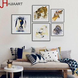 Wholesale Watercolor Giraffe Zebra Horse Lion Animals Family Love A4 Big Art Print Poster Wall Canvas Painting No Frame Home Decor