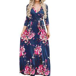 54d19524303 Three Quarter Sleeve Maxi Beach Dress Autumn Boho Women Floral Printed  Sundress V-neck Sexy Lady Long Dresses Plus Size GV670