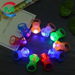 Large pLastic toy box online shopping - LED Large Luminescent Imitation Diamond Ring Bright In Color Entertainment Venue Funny Flashing Light Finger Lamp cm W