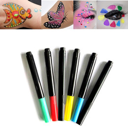 Body Art Face Paint NZ - 6 Colors Face Body Art Paint Pens Markers Fashion Halloween Makeup Body Facial DIY Design Drawing Painting Pencil Tool For Party