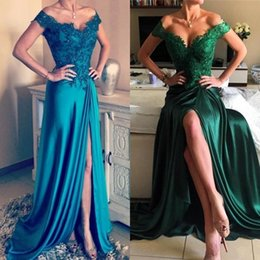 cheap emerald prom dresses 2019 - 2018 Emerald Green Sexy Off-Shoulder Split A-Line Prom Dresses Cheap Backless Beads Appliques Evening Gowns Plus Size Ve