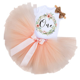 Discount baby girls 1st birthday tutus - Baby Girl Clothes Set 1st Birthday Cake Smash Outfits Infant Clothing Sets Romper+Tutu Skirt+Bow Cap 1 Year Baby Baptism