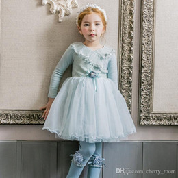 korea clothes wholesale UK - 2018 Korea New Autumn Princess Dresses Long Sleeve lace Dancing tulle Gauze Dress For Girl big Children Clothing Party Dressy Blue A9916