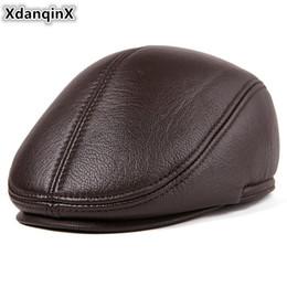 XdanqinX Men s Flat Cap Genuine Leather Hat Winter Plus Velvet Thick Warm  Berets For Men Sheepskin Leather Brands Earmuffs Caps b037fd8df036