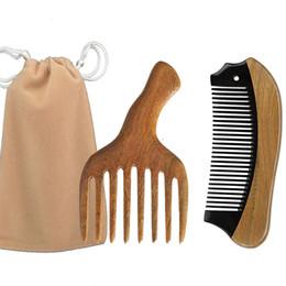 Paddle Picks online shopping - Afro Hair Pick ox Horn Wooden Pocket Travel Comb bag Brush Drop Shipping Scalp Massage Men Beard Styling Christmas Valentine Business Gift
